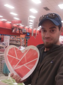rob with a valentine heart