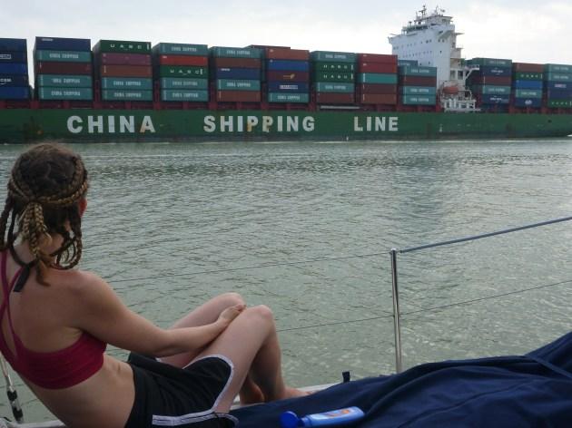 panama canal transit on a yacht - sailboat blog - on the horizon line