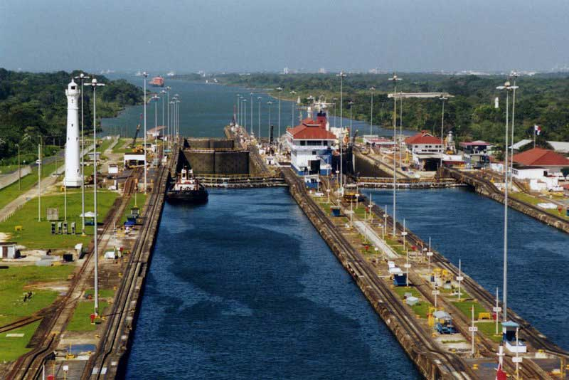panama canal crossing in sailboat - on the horizon line travel blog
