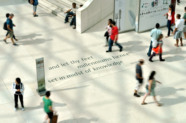 Tennyson quote on the floor of the British Museum, London