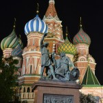on the road to moscow - russia- on the road to moscow - russia-st basil cathedral by night