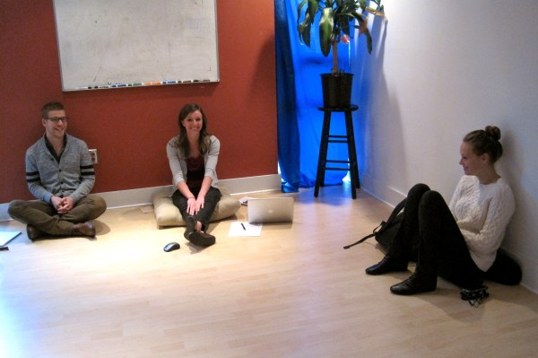 Madison and the interns hard at work! Who needs a desk, anyway?