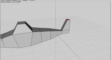 Figure 25: Last top face extruded and scaled down  to shape the tail