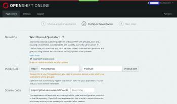 Figure 3: WordPress configuration on OpenShift-I