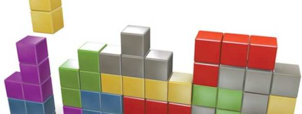 3d render of class tetris puzzle game