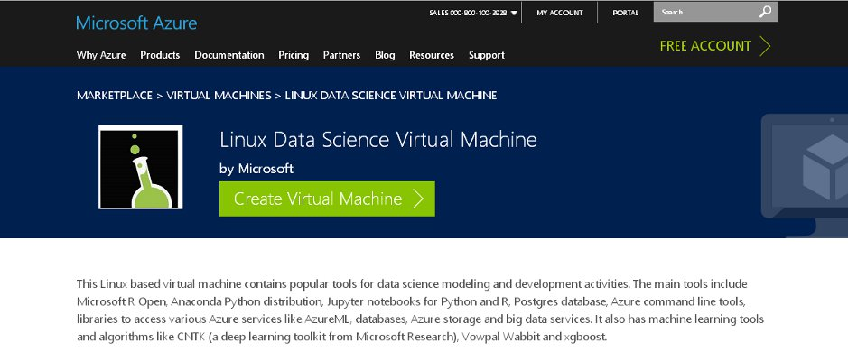 Microsoft Azure lists Linux Data Science Virtual Machine