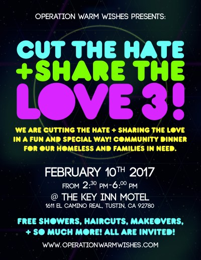 """Join us as we """"Cut the Hate & Share the Love! – Operation Warm Wishes"""