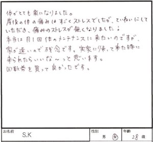 佐倉市 28歳 女性 S.Kさん