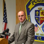Police Chief Robert Gagne addresses the press regarding a July 24 homicide.  (Photo by Cory Ziman)
