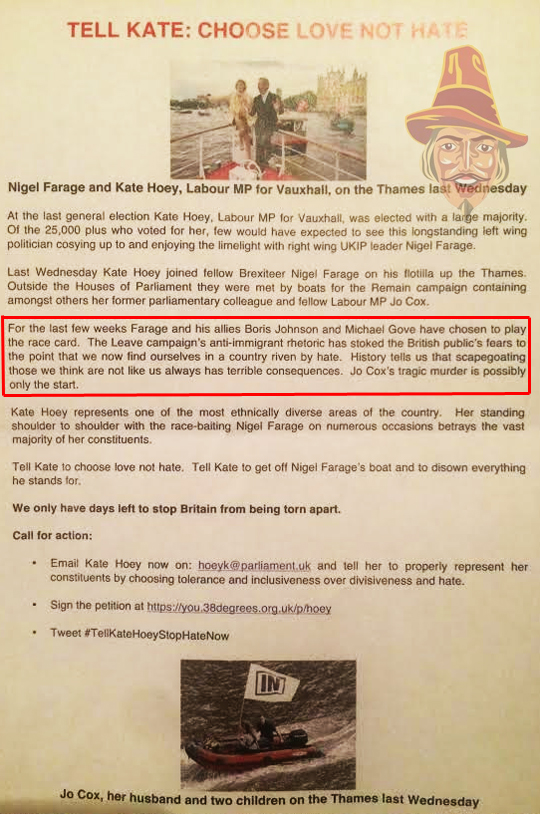 "REMAIN LEAFLET BLAMES LEAVE: ""JO COX'S MURDER IS ONLY THE START"""