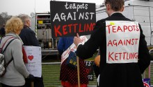 Pro-teapot enthusiasts demonstrate against kettles.