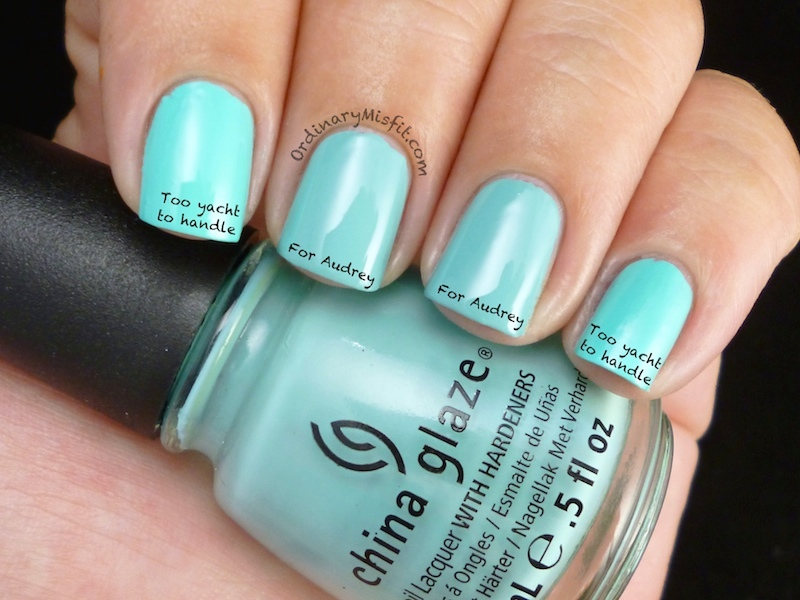Comparison: China Glaze For Audrey vs Too yacht to handle
