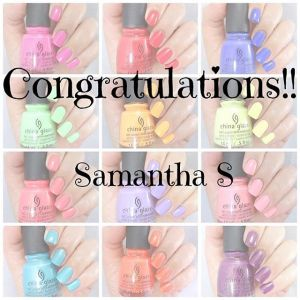 Congratulations Sam!!! Please check your email to claim your polishes!