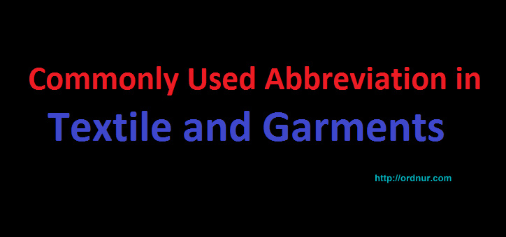 textile and garments abbreviation