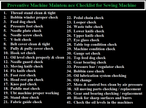 Preventive Machine Maintenance Checklist for Sewing Machine