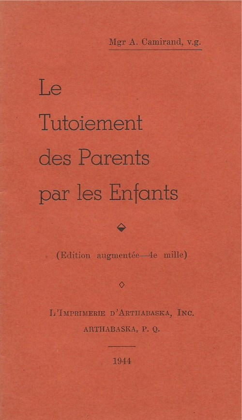 Le Tutoiement des parents par les enfants, 1944, couverture