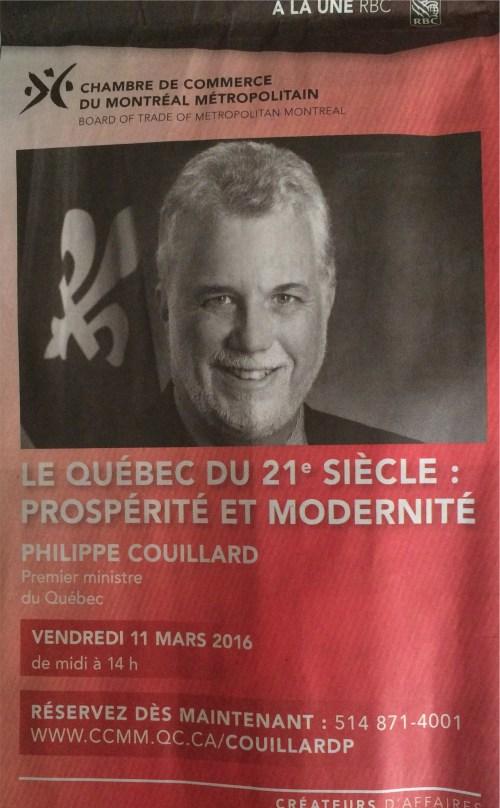 Publicité pour une conférence de Philippe Couillard, le Devoir, 25 février 2016, p. A2
