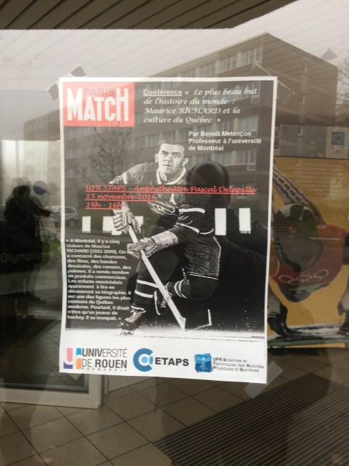 Conférence sur Maurice Richard, affiche, novembre 2016