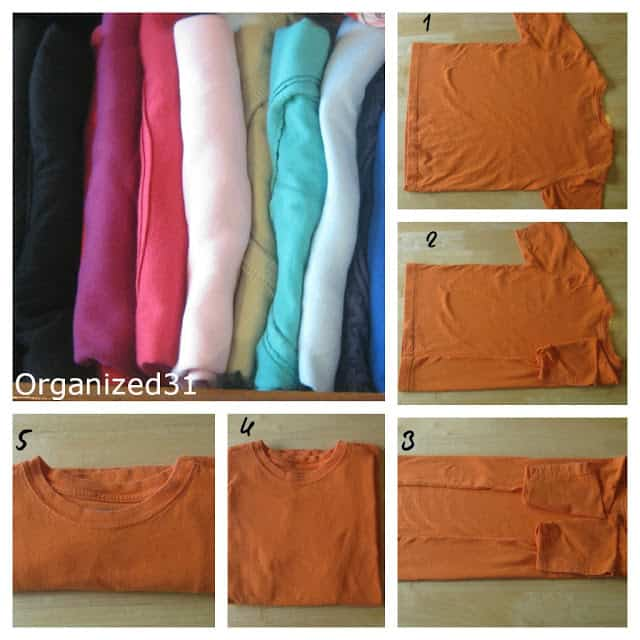 collage of the steps to fold a t-shirt