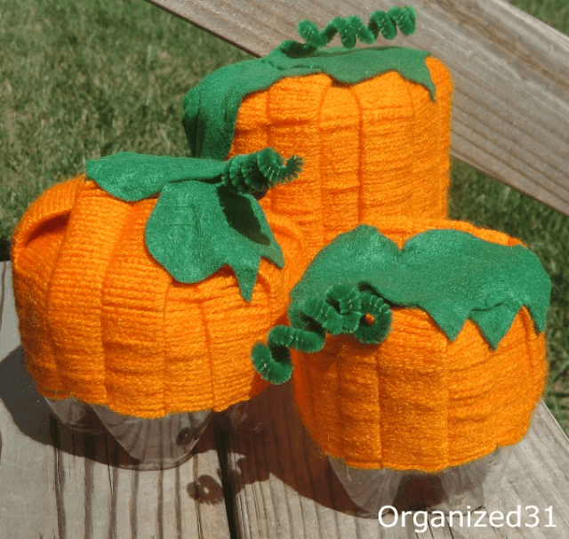 Organized 31 - Upcycled Halloween Pumpkin Decoration from repurposed soda bottle