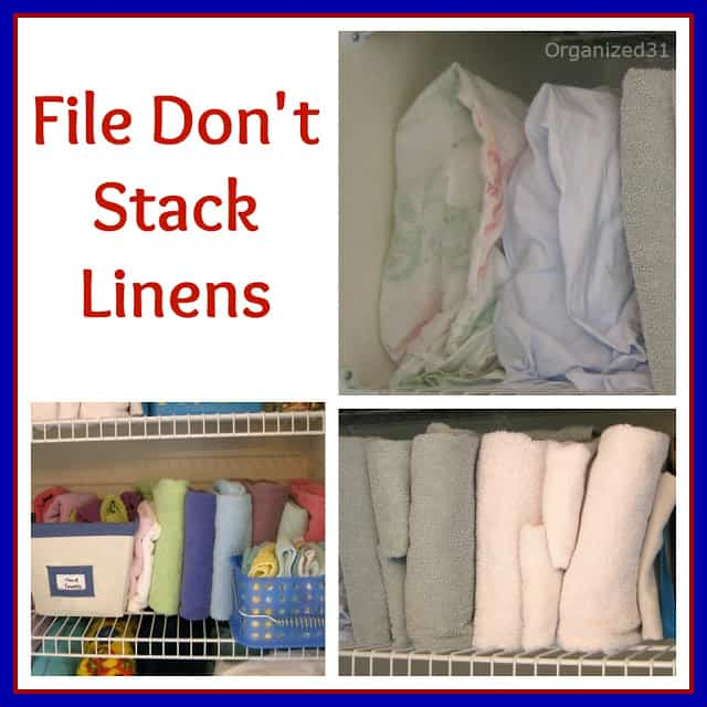 collage of 3 images of linen closet shelves