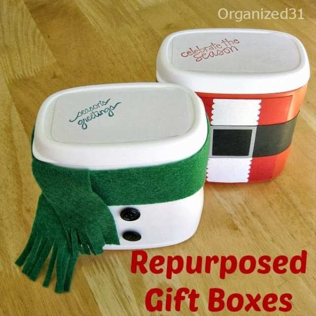 Repurposed Plastic Container Snowman Gift Box - Organized 31