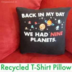 Easy T-shirt Pillow Upcycle - Organized 31