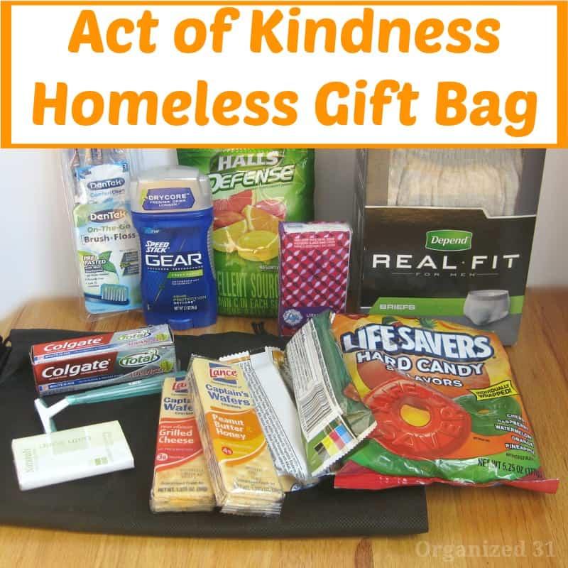 act of kindness homeless gift bag organized 31