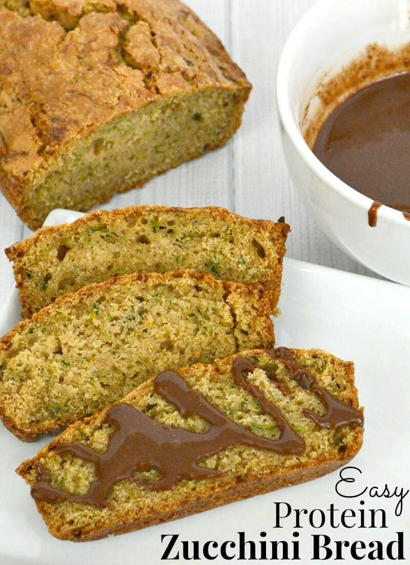 Make this easy and delicious Protein Zucchini bread for breakfast and add chocolate glaze for a snack. #StartWithJifPowder [ad]