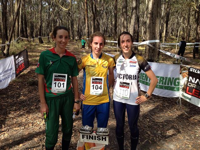 Race 3 W21E placegetters, Grace Crane (3rd), Lizzy Ingham (1st), Aislinn Prendergast (2nd)
