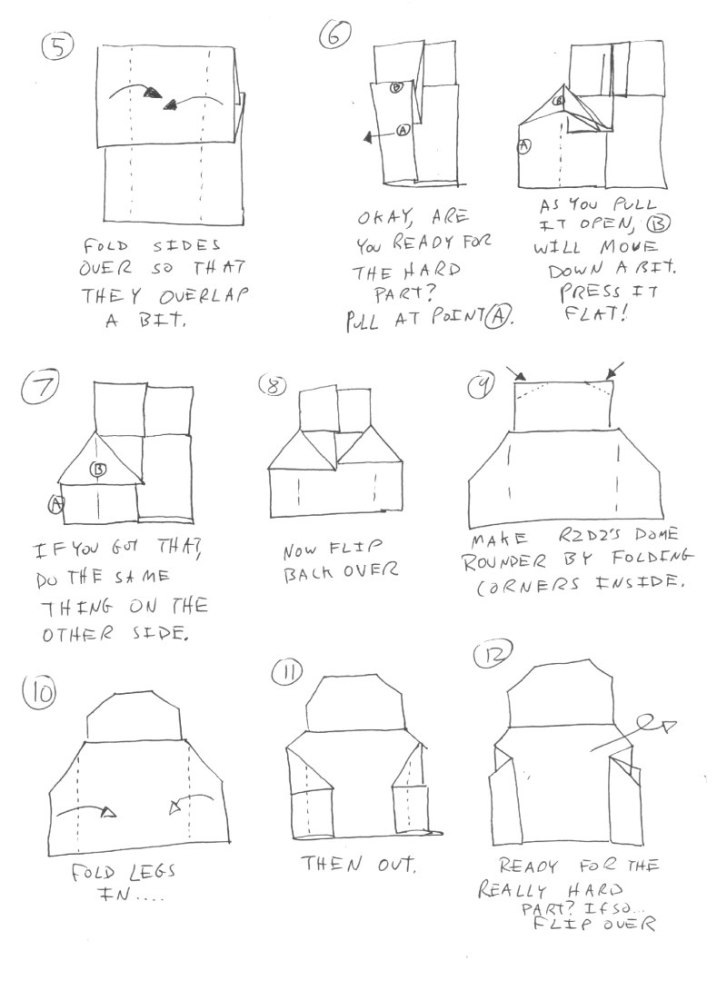 Instructions for Origami R2D2! Plus a contest! Happy Life Day! #starwars #origami (3/4)