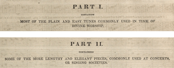 Beginning of Parts I and II of the <em>Southern Harmony</em>, 1847 edition. Courtesy of the Library of Congress.