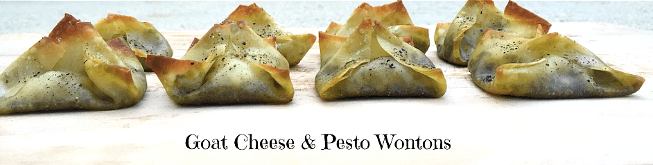 goat cheese and pesto wontons