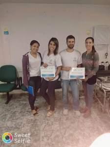 Funcionária em treinamento Liana, funcionária em treinamento Janaina, estudante do curso técnico Ortese/Protese Thiago Carlos Gonçalves  e FT Natália Ribeiro.