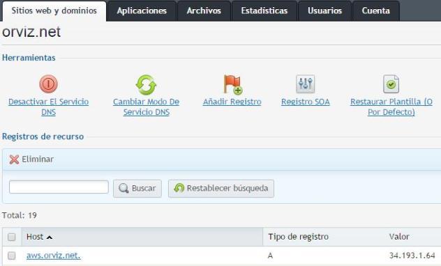 Añadimos un registro A al DNS