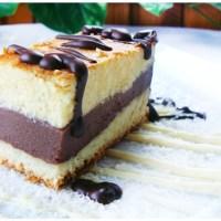 Sernik waniliowy z budyniem czekoladowym