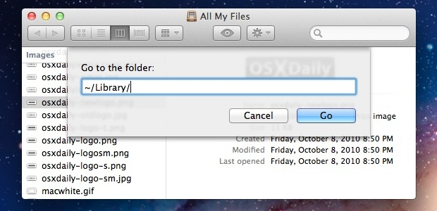 Access User Library folder in Mac OS X Lion