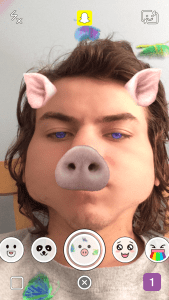 Snapchat Lenses - Pig Face With Butterflies and Purple Eyes Snapchat Lens