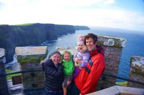 The Bender family at the Cliffs of Moher in Ireland.