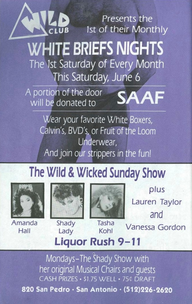 Show Ad | Wild Club (San Antonio, Texas) | June 1992