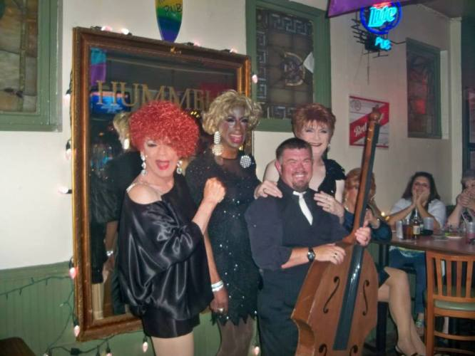 """Candy James, Janice Price and Jennifer James with Jonah the """"Godfather of Drag"""""""