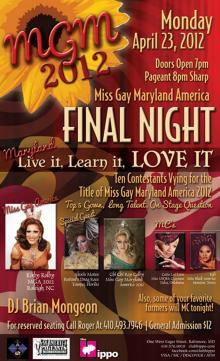 Show Ad | Miss Gay Maryland America | Club Hippo (Baltimore, Maryland) | 4/23/2012