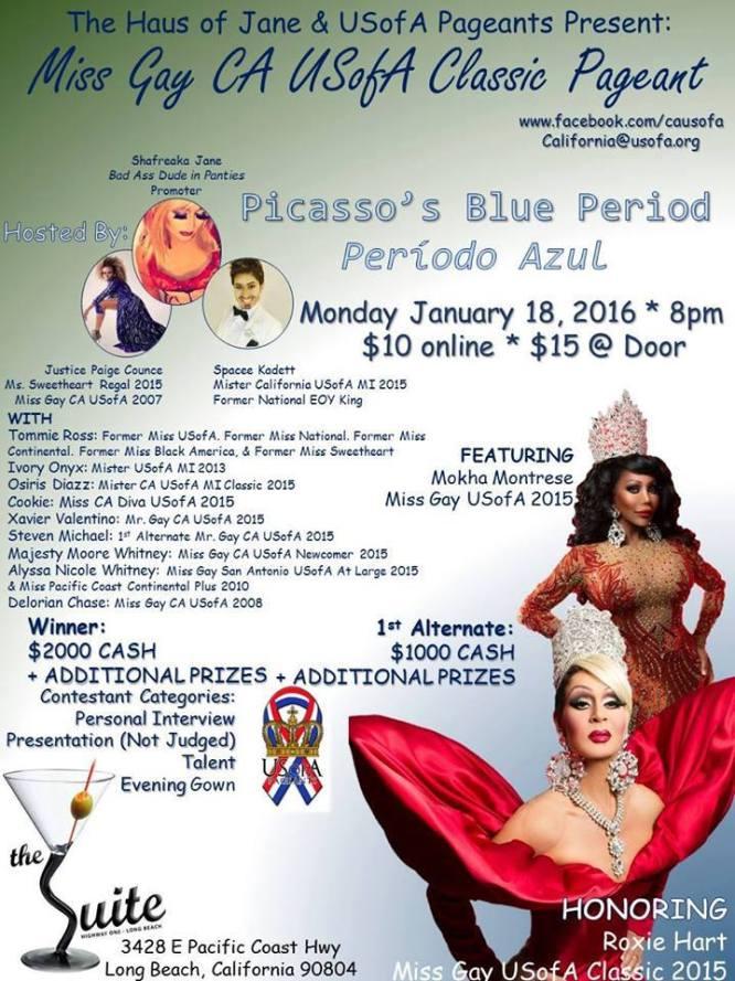 Show Ad | Miss Gay California USofA Classic | The Suite Night Club (Long Beach, California) | 1/18/2016