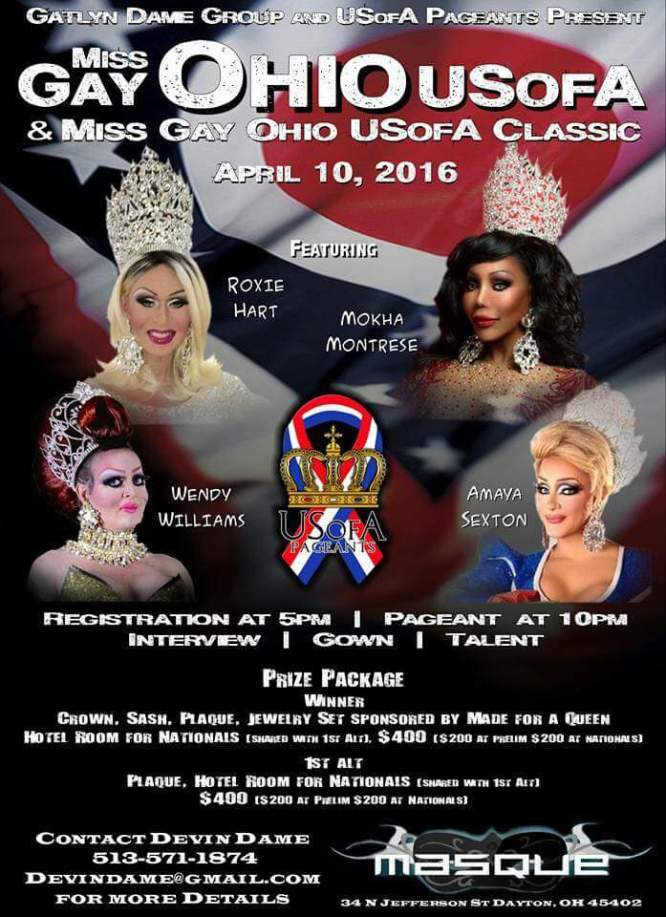 Show Ad | Miss Gay Ohio USofA & Classic | Masque (Dayton, Ohio) | 4/10/2016