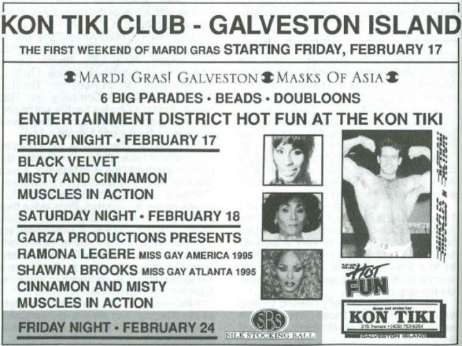 Show Ad | Kon Tiki Club (Galveston Island, Texas) | 2/17-2/24/1995