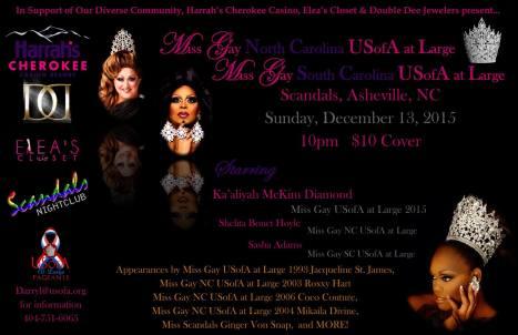 Show Ad | Miss Gay North Carolina USofA at Large and Miss Gay South Carolina USofA at Large | Scandals (Asheville, North Carolina) | 12/13/2015