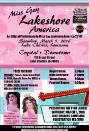 Show Ad | Miss Gay Lakeshore America | Crystal's Downtown (Lake Charles, Louisiana) | 3/5/2016