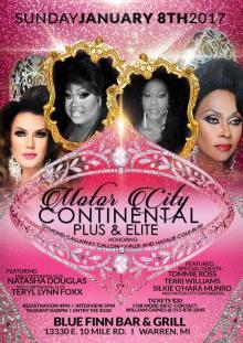Show Ad | Miss Motor City Continental Plus & Elite | Blue Finn Bar & Grill (Warren, Michigan) | 1/8/2017