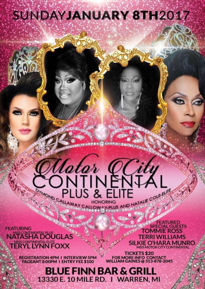 Show Ad | Miss Motor City Continental Plus & Elite | Blue Finn Bar & Grill (Warren, Michigan) | 1/8/2017