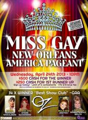 Show Ad | Miss Gay New Orleans America | Oz (New Orleans, Louisiana) | 4/24/2013